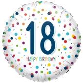 Luftballon aus Folie mit Helium, Confetti Birthday 18, zum 18. Geburtstag
