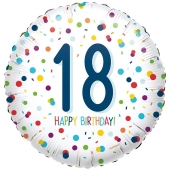 Luftballon zum 18. Geburtstag, Confetti Birthday 18, ohne Helium-Ballongas