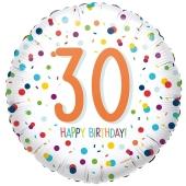 Luftballon zum 30. Geburtstag, Confetti Birthday 30, ohne Helium-Ballongas