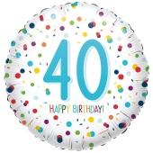 Luftballon aus Folie mit Helium, Confetti Birthday 40, zum 40. Geburtstag