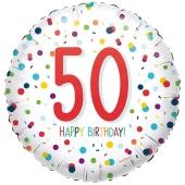 Luftballon aus Folie mit Helium, Confetti Birthday 50, zum 50. Geburtstag