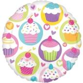 Luftballon aus Folie, Cupcake Party, ohne Helium-Ballongas