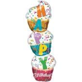 Happy Birthday Stacked Cupcake Luftballon,  Shape