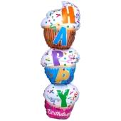 Happy Birthday Stacked Cupcake Folienballon zum Geburtstag, inklusive Helium