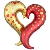 Luftballon aus Folie, Curvy Heart Love ohne Helium