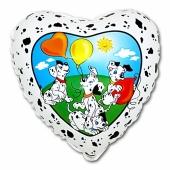 Herzluftballon aus Folie mit Dalmatinern, ohne Helium