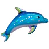 Delfin, irisierend, Luftballon aus Folien mit Ballongas-Helium