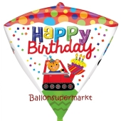 Diamondz Luftballon aus Folie, Happy Birthday Baustelle ohne Helium