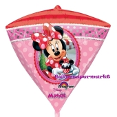 Diamonz Luftballon aus Folie Minnie Mouse inklusive Helium, Frontansicht