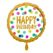 Geburtstags-Luftballon, Happy Birthday, Dots mit Helium