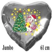 Jumbo Herzluftballon aus Folie, silber, Einhorn mit Weihnachtsbaum mit Helium