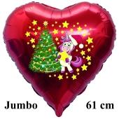Jumbo Herzluftballon aus Folie, Einhorn mit Weihnachtsbaum mit Helium