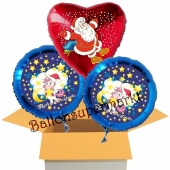 3 Luftballons zu Weihnachten, Merry Christmas Einhorn und Weihnachtsmann Schnee