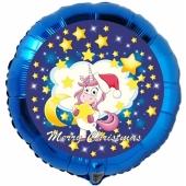 Folienballon Einhorn, Merry Christmas, rund, ohne Helium/Ballongas