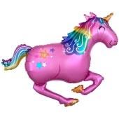 Pink Unicorn Folienballon, Einhorn ohne Helium-Ballongas