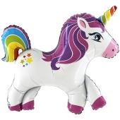 Rainbow Unicorn Folienballon, Regenbogen Einhorn ohne Helium-Ballongas