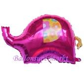 Elefant, Pink, Luftballon aus Folie ohne Helium, ungefüllt