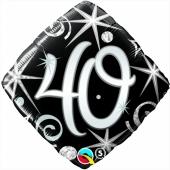 Luftballon zum 40. Geburtstag, Birthday Elegant 40, ohne Helium-Ballongas