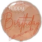 Happy Birthday Elegant Lush Blush, Luftballon aus Folie mit Helium