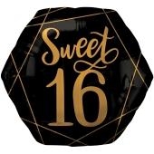 Folienballon Jumbo Elegant Sixteen, ohne Helium zum 16. Geburtstag