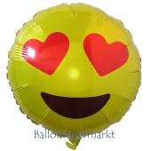 Emoticon mit Herzchenaugen, Folienballon mit Ballongas-Helium