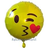 Emoticon mit Kussmund, Folienballon mit Ballongas-Helium