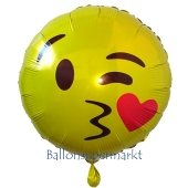 Emoticon mit Kussmund, Folienballon ohne Ballongas