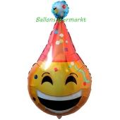 Folienballon emoticon mit Partyhut, ungefüllt