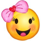Emoticon mit rosa Schleife, Folienballon mit Ballongas-Helium