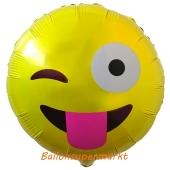 Emoticon mit rausgestreckter Zunge, Folienballon mit Ballongas-Helium