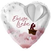 Ewige Liebe, Herzballon zur Hochzeit, Folienballon inklusive Helium