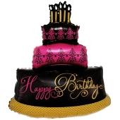 Happy Birthday Torte Folienballon zum Geburtstag, inklusive Helium