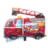 Feuerwehrauto mit Elefant und Hund, Luftballon aus Folie inklusive Helium-Ballongas