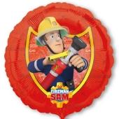 Feuerwehrmann Sam, runder Luftballon aus Folie, inklusive Helium