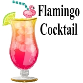 Flamingo Cocktail, Folienballon mit Ballongas-Helium