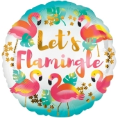 Flamingo Luftballon, Let's Flamingle, Folienballon mit Helium-Ballongas