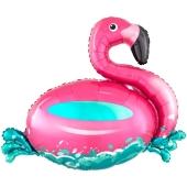 Flamingo Schwimmring, Folienballon mit Ballongas-Helium