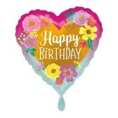 Geburtstags-Luftballon, Happy Birthday, Flowers mit Helium