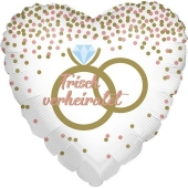 Frisch verheiratet, Herzballon zur Hochzeit, Folienballon inklusive Helium