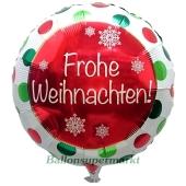 Folienballon Frohe Weihnachten, ohne Helium/Ballongas