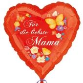 Fuer die liebste Mama, Herzballon aus Folie mit Helium zum Muttertag