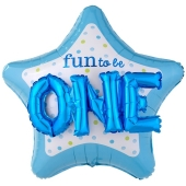 Folienballon Fun to be One Boy 3D, ohne Helium zum 1. Geburtstag