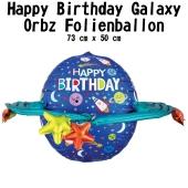 Luftballon Happy Birthday bunte Galaxie zum Geburtstag, ohne Helium