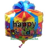 Happy Birthday Geburtstagsballon, Geschenk, Shape, ungefüllt