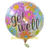 Luftballon aus Folie Get well, inklusive Helium-Ballongas
