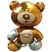 Luftballon aus Folie, Bärchen Get well soon, inklusive Helium-Ballongas