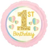 Luftballon aus Folie Girl 1st Birthday, Rosa & Gold, inklusive Helium