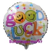Luftballon aus Folie Good Luck Smileys inklusive Helium-Ballongas