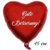 Herzluftballon aus Folie, Gute Besserung, Rot, 45 cm, ohne Helium