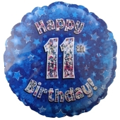 Luftballon aus Folie zum 11. Geburtstag, blauer Rundballon, Junge, Zahl 11, inklusive Ballongas